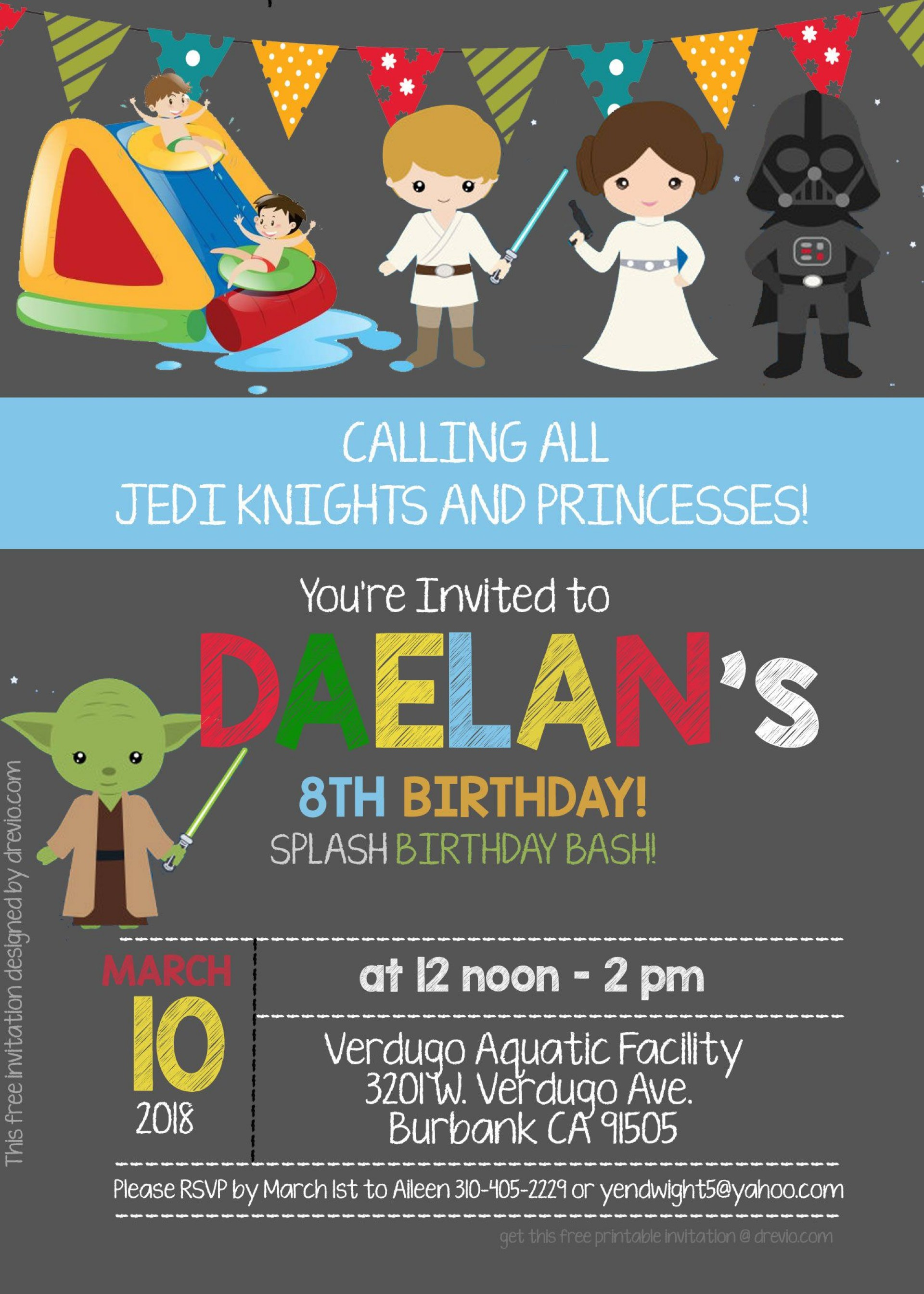 008 Awesome Star War Birthday Invitation Template Picture  Free Party Printable1920