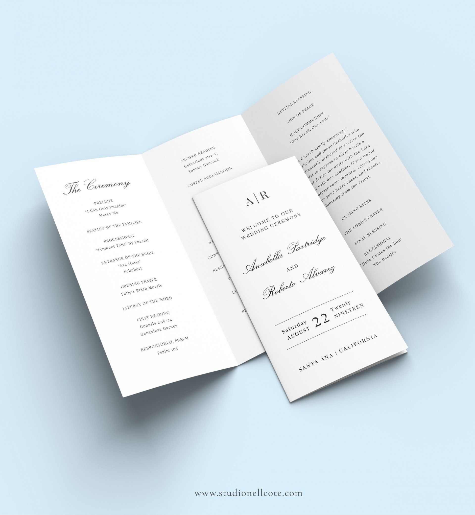 008 Awesome Trifold Wedding Program Template Design  Tri Fold Word Folded Example1920