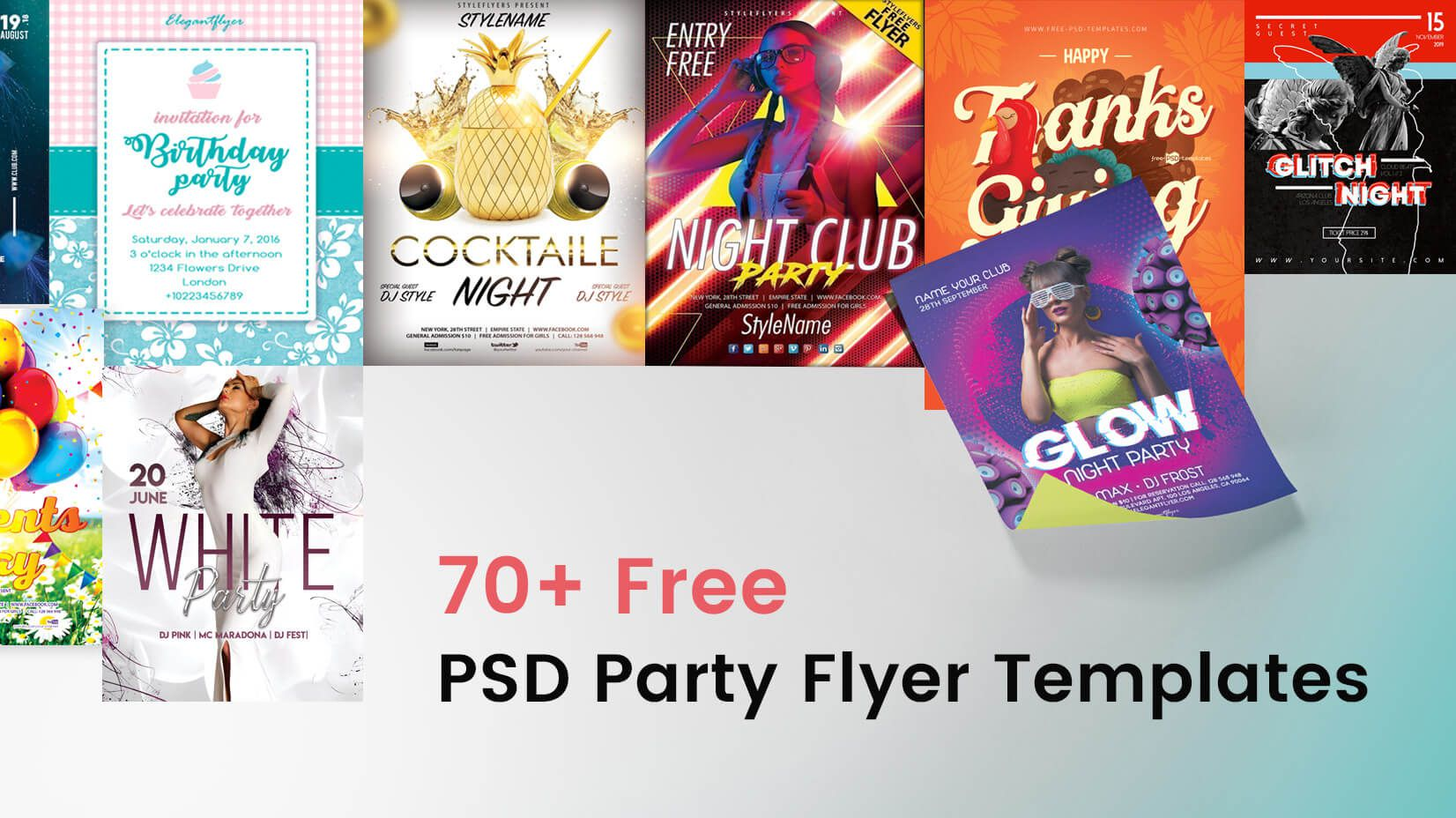 008 Awful Free Party Flyer Psd Template Download Concept  - Neon GlowFull