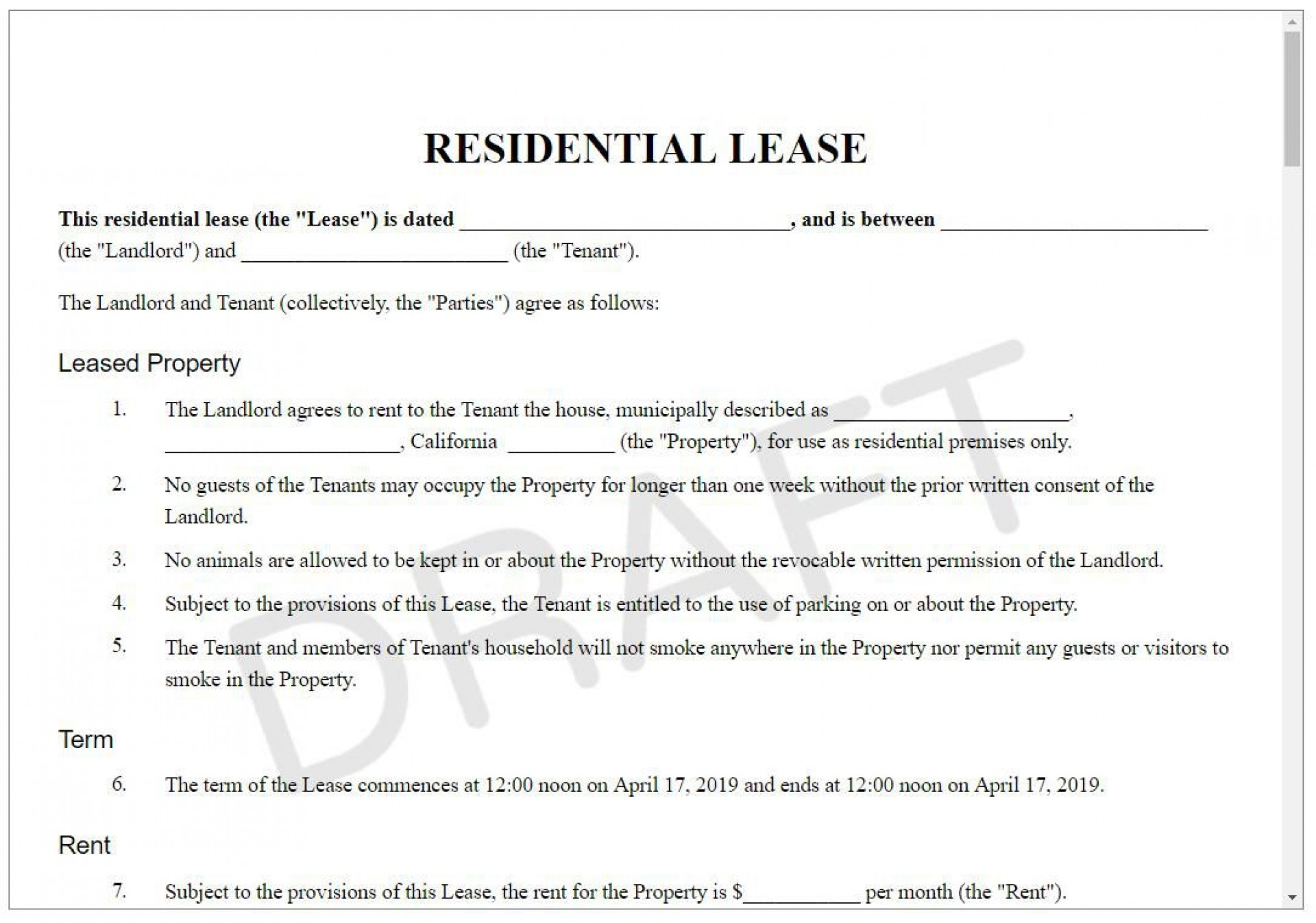 008 Awful Landlord Contract Template Free Example  Rental Simple Flat Resident Tenancy Agreement1920