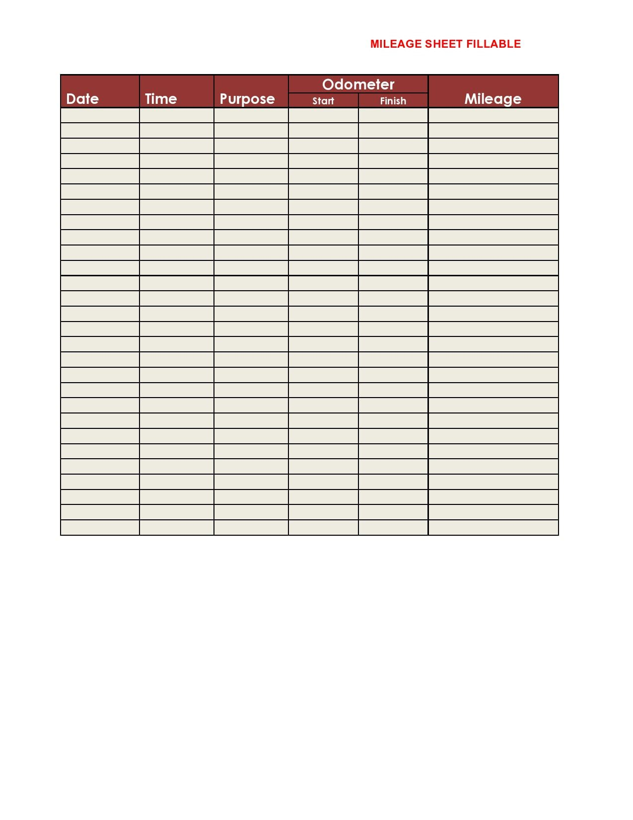 008 Awful Mileage Tracker Form Excel Sample Full