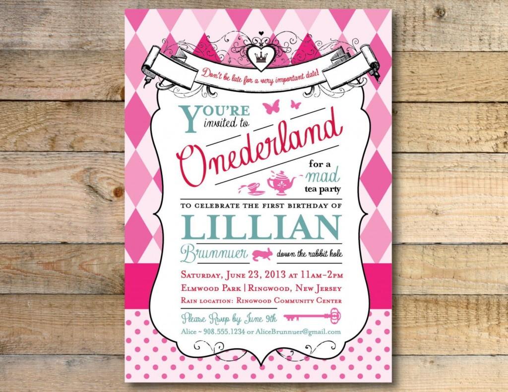 008 Beautiful Alice In Wonderland Invitation Template Download Idea  FreeLarge