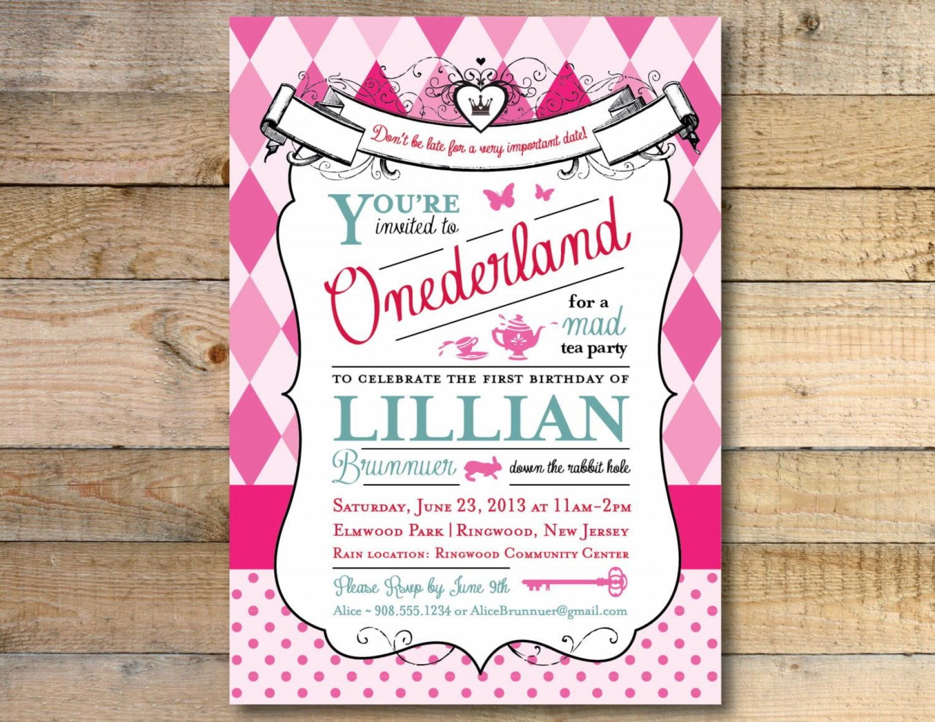 008 Beautiful Alice In Wonderland Invitation Template Download Idea  Free1920