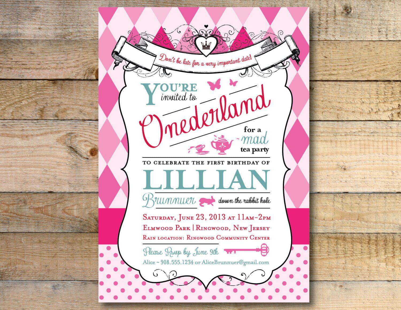 008 Beautiful Alice In Wonderland Invitation Template Download Idea  FreeFull
