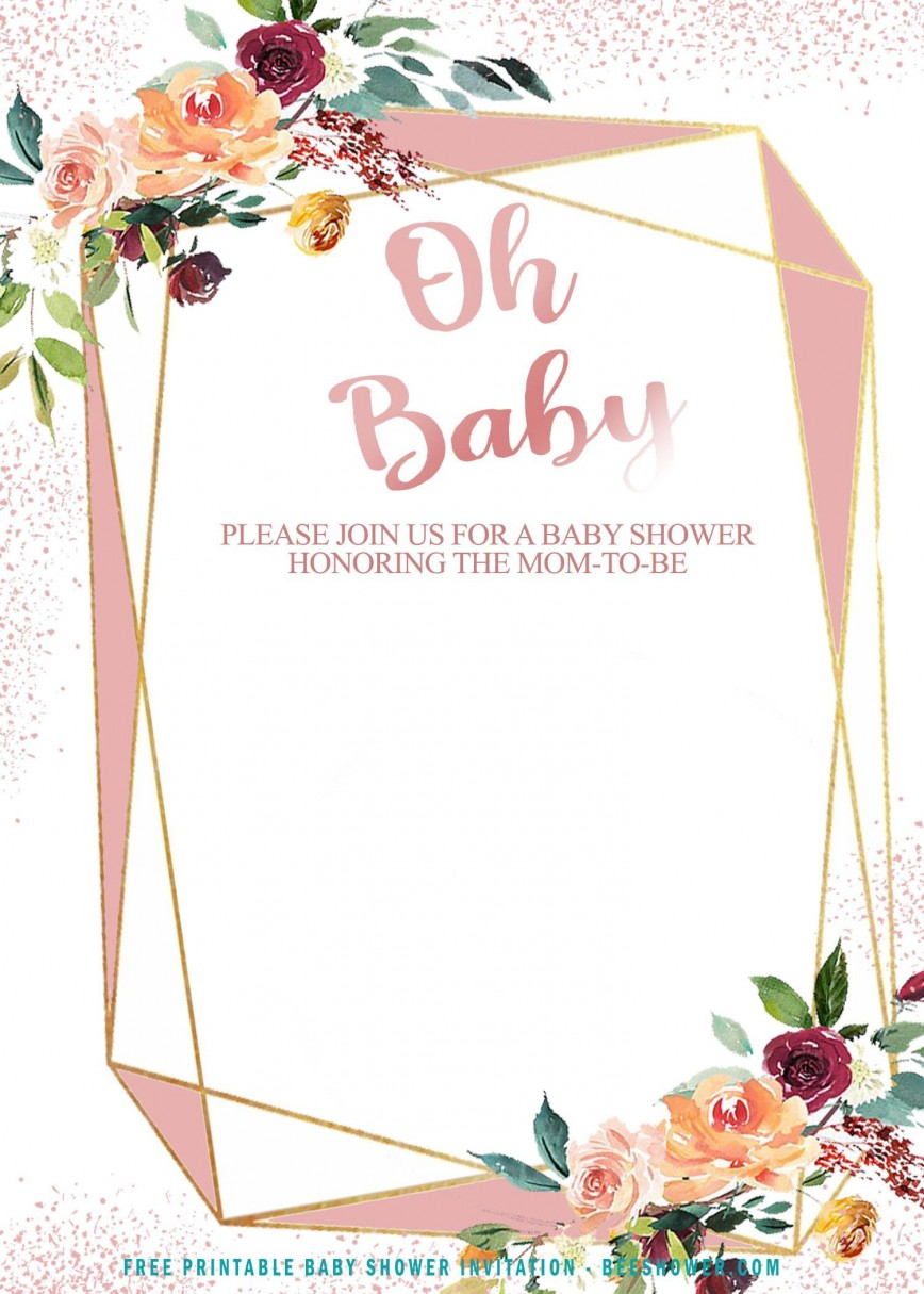 008 Beautiful Baby Shower Invite Template Word Highest Clarity  Free Editable Invitation For Format Wording Example