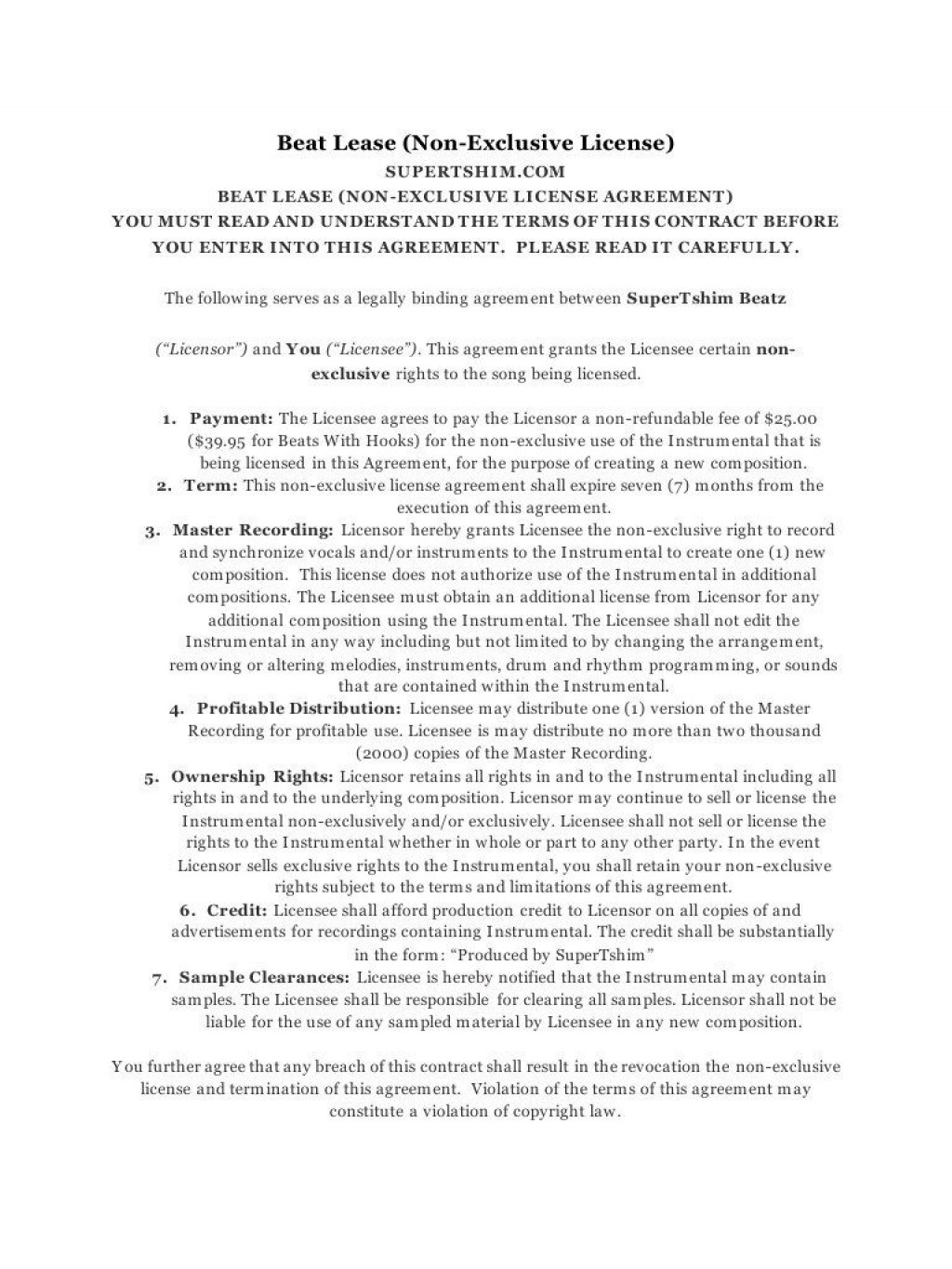 008 Beautiful Beat Lease Contract Template High Definition  Unlimited PdfLarge