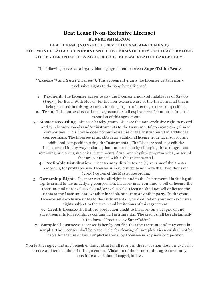 008 Beautiful Beat Lease Contract Template High Definition  Unlimited PdfFull
