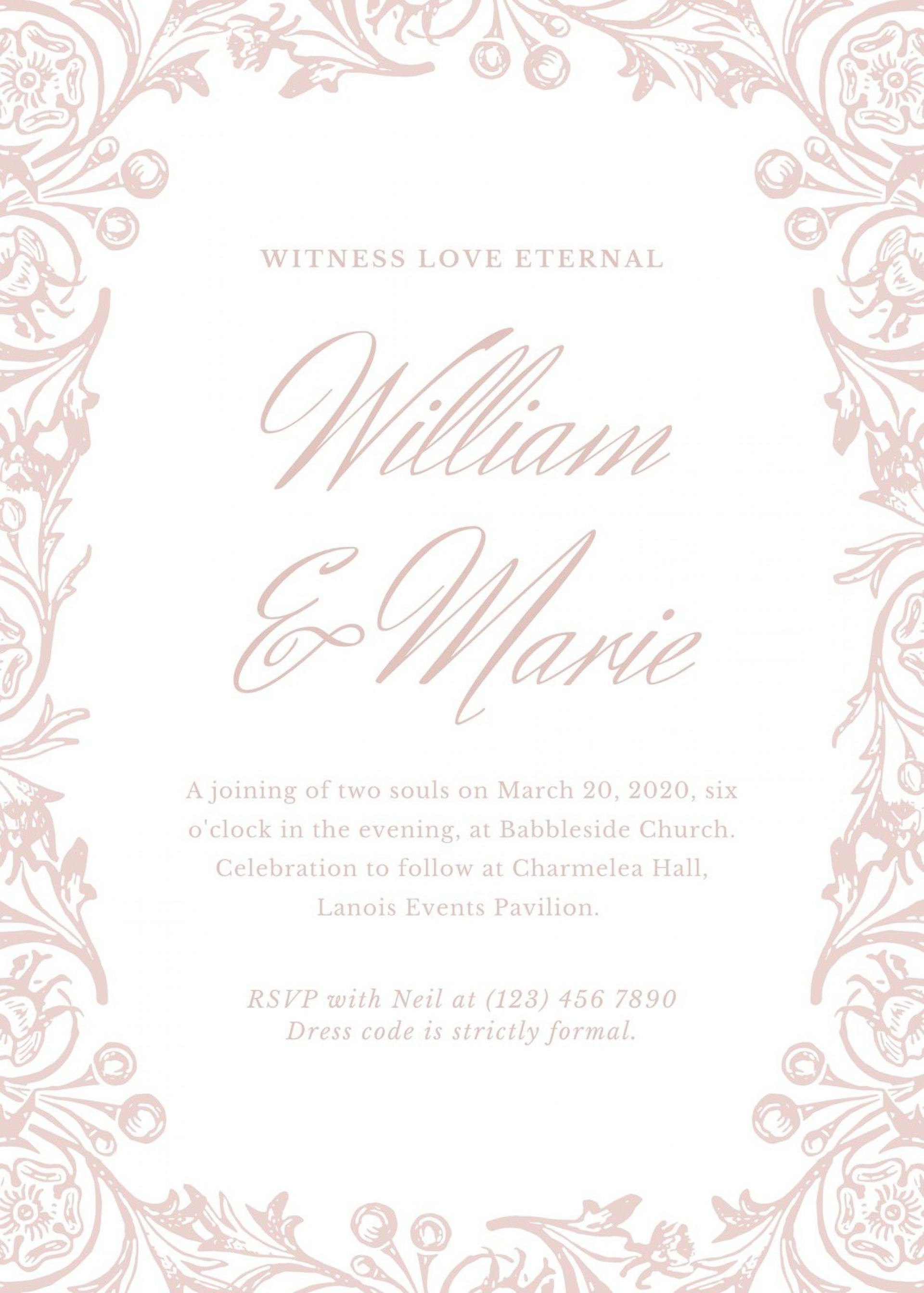 008 Beautiful Formal Wedding Invitation Template High Def  Templates Email Format Wording Free1920