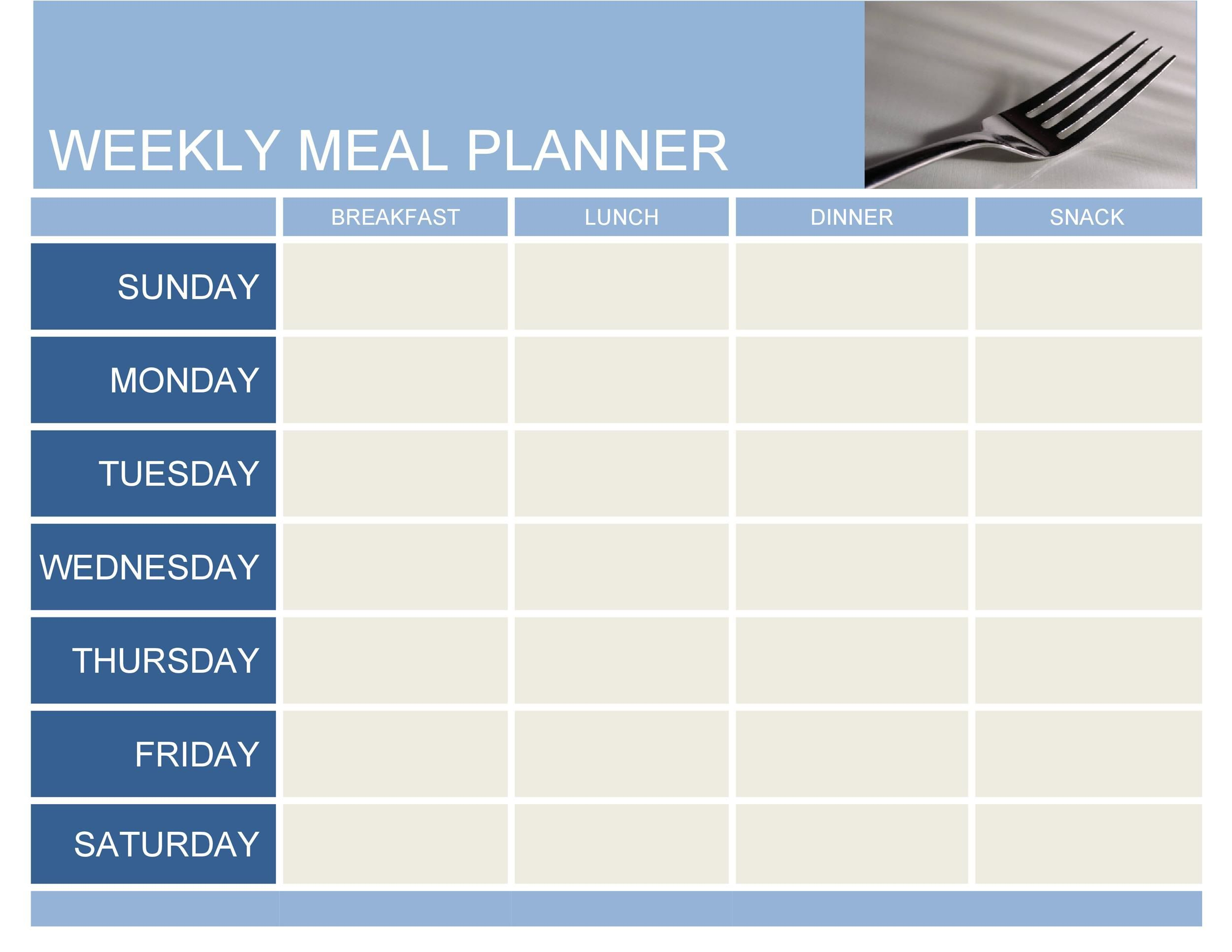008 Beautiful Free Meal Planner Template Word High Definition  Editable Weekly MonthlyFull