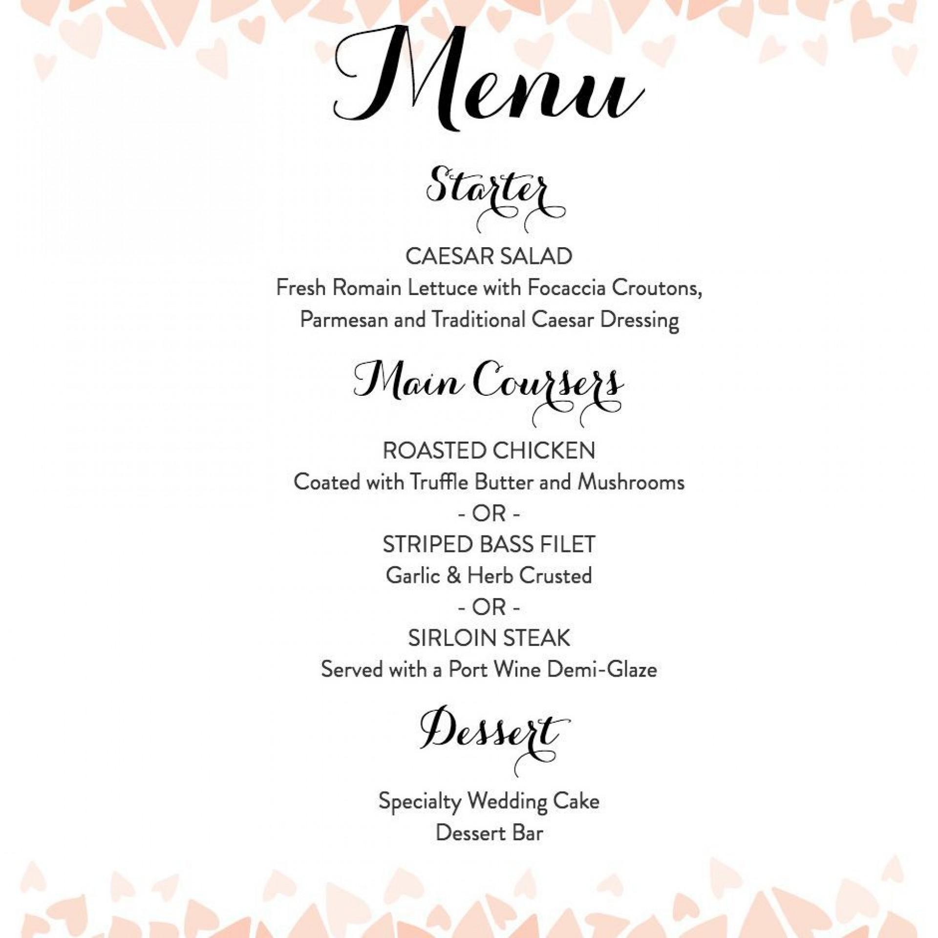 008 Beautiful Free Wedding Menu Template Design  Templates Printable For Mac1920