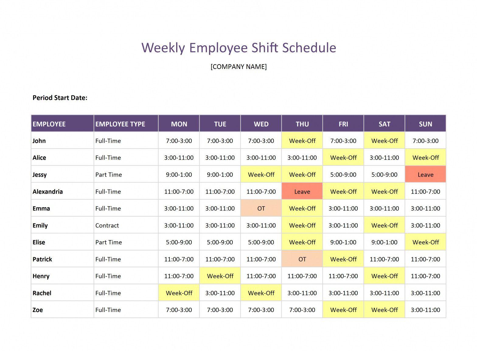 008 Beautiful Google Doc Employee Schedule Template Example  Weekly WorkFull