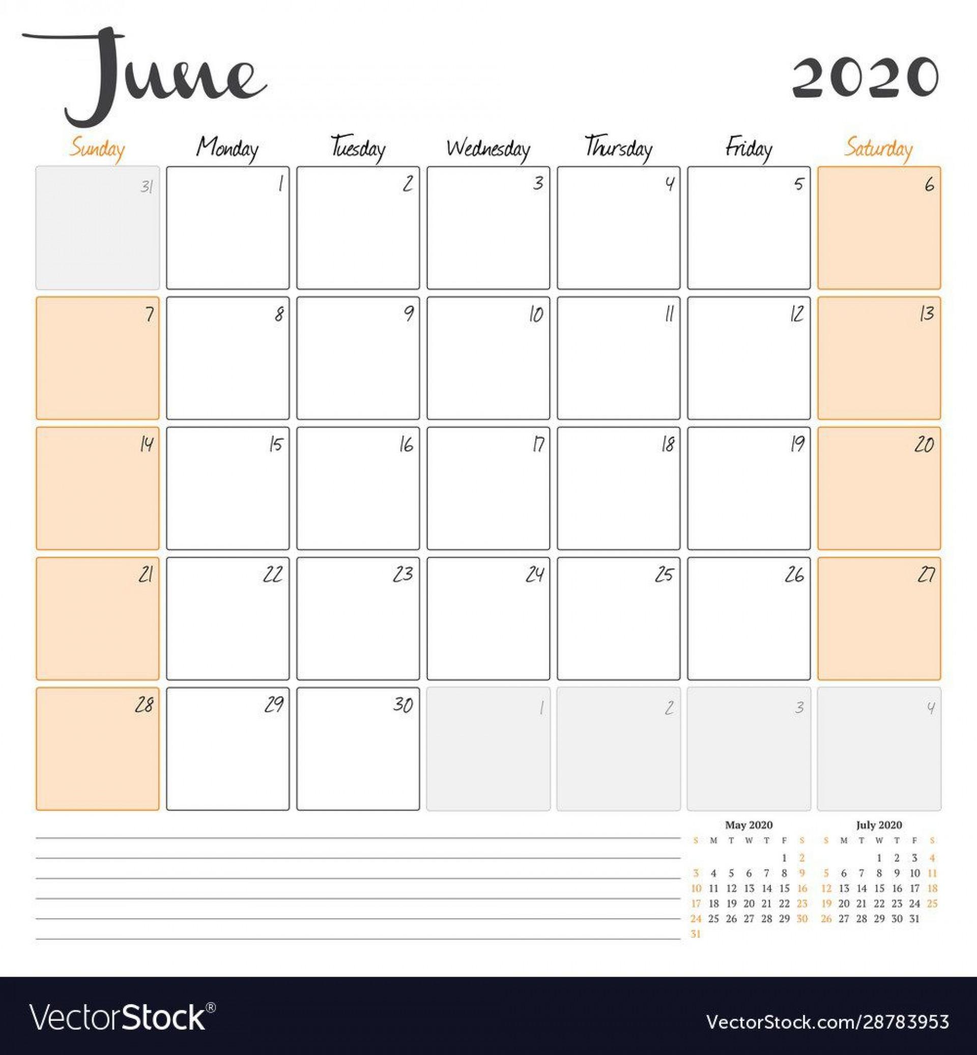 008 Beautiful June 2020 Monthly Calendar Template Inspiration 1920