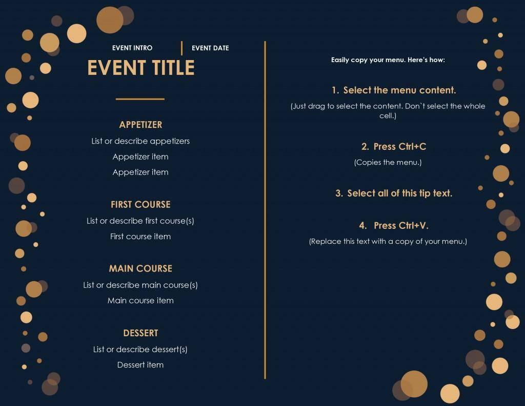 008 Beautiful Menu Template Free Download Word Idea  Dinner Party WeddingLarge