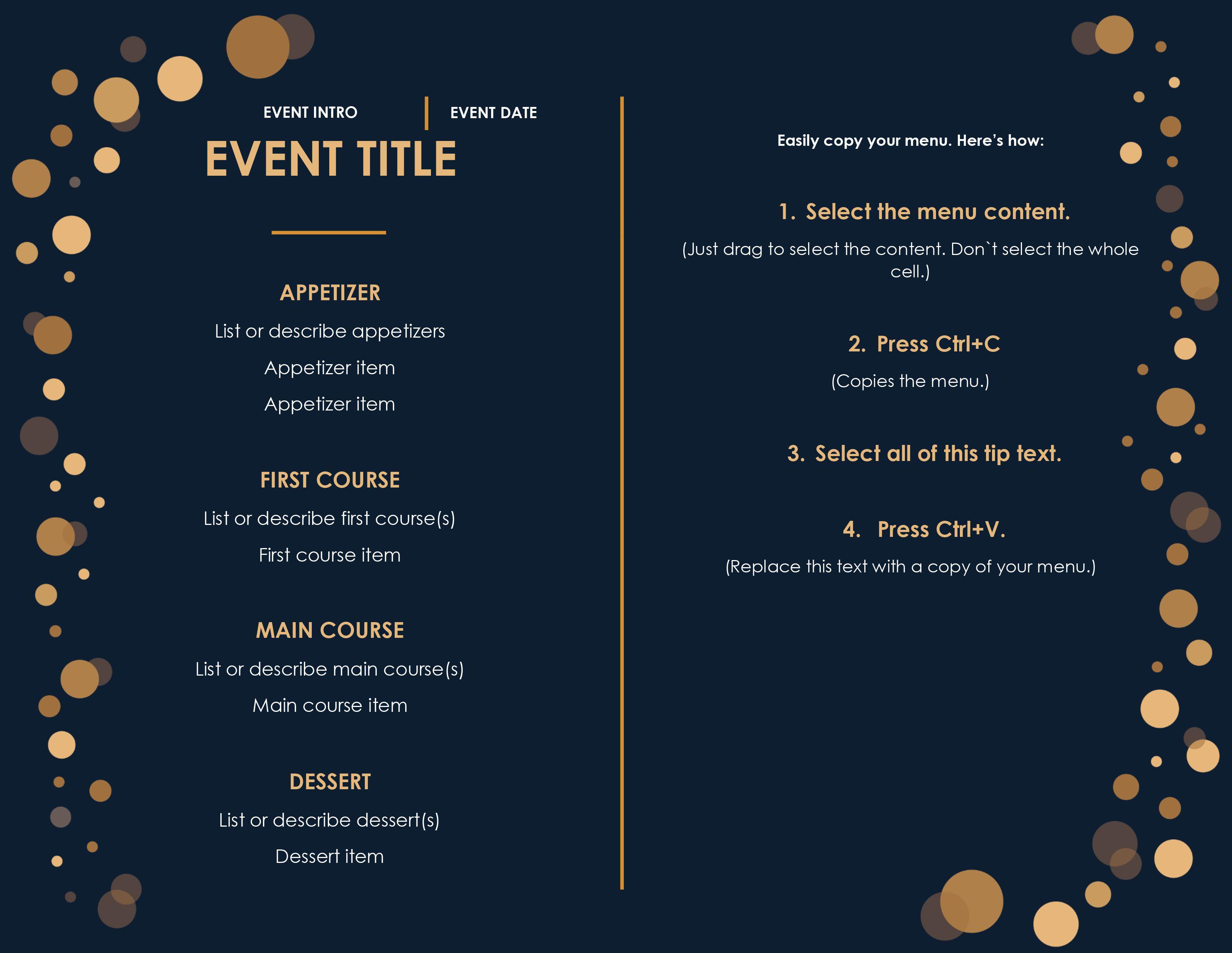 008 Beautiful Menu Template Free Download Word Idea  Dinner Party WeddingFull