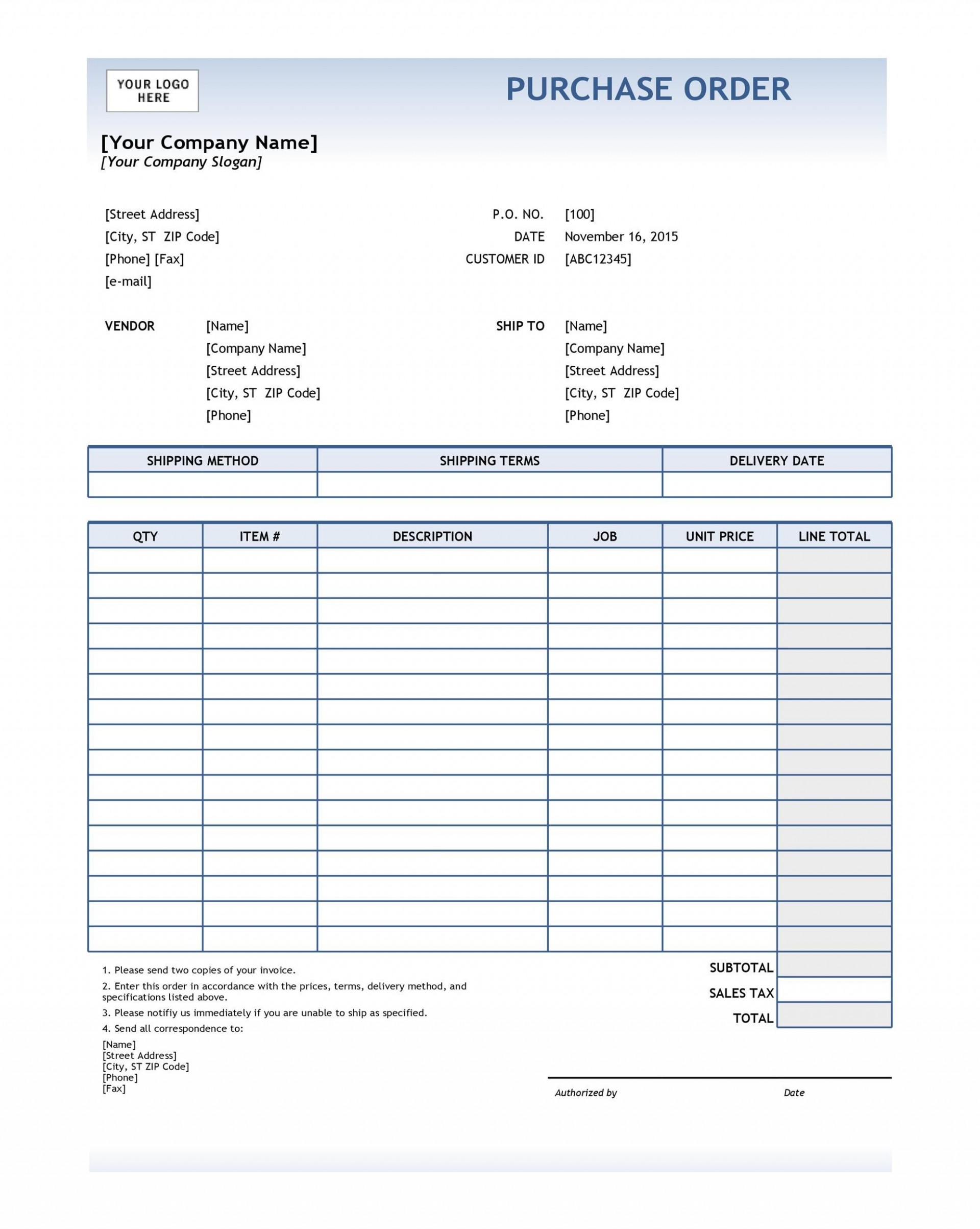 008 Beautiful Purchase Order Template Free Idea  Log M Acces Blanket1920