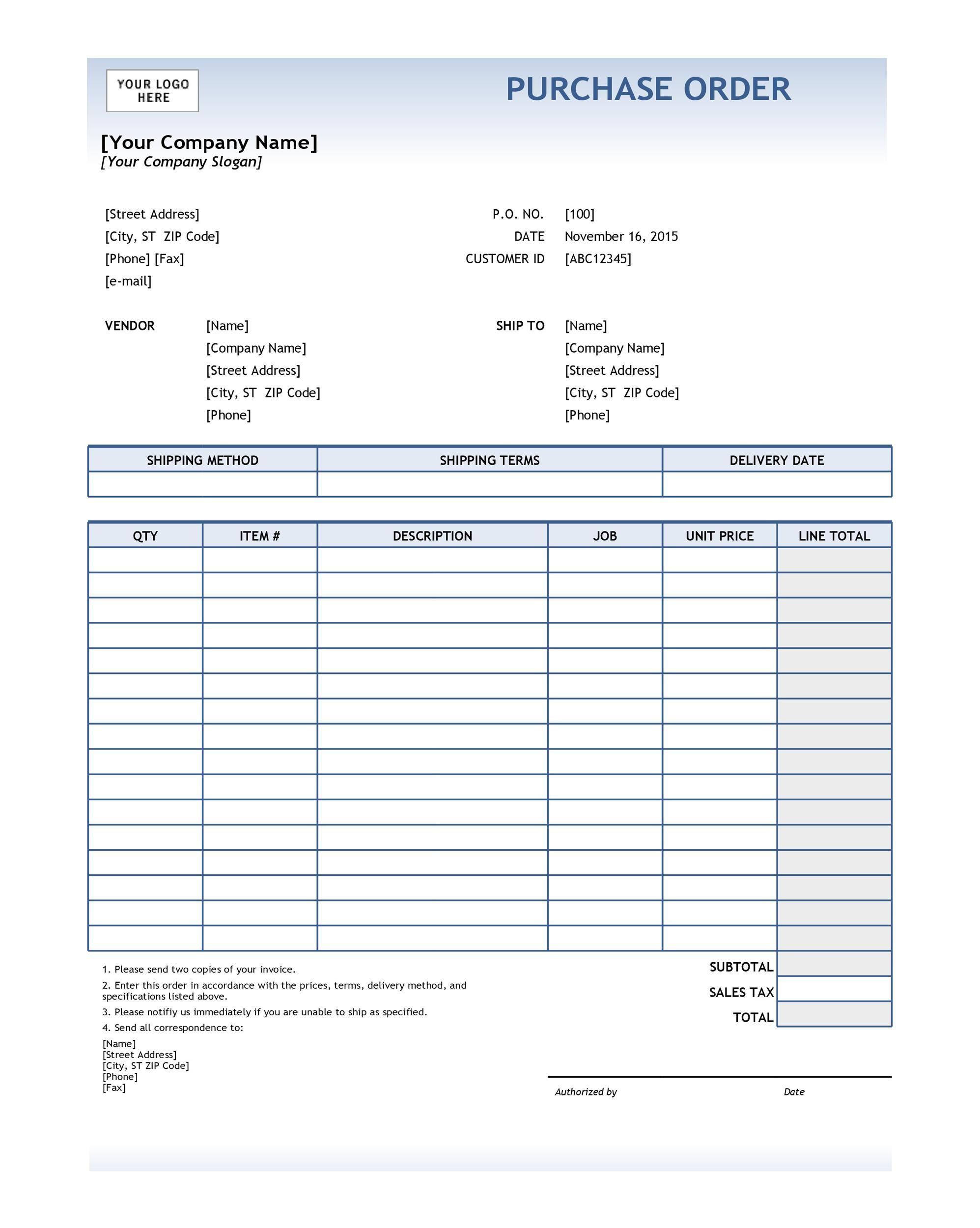 008 Beautiful Purchase Order Template Free Idea  Log M Acces BlanketFull