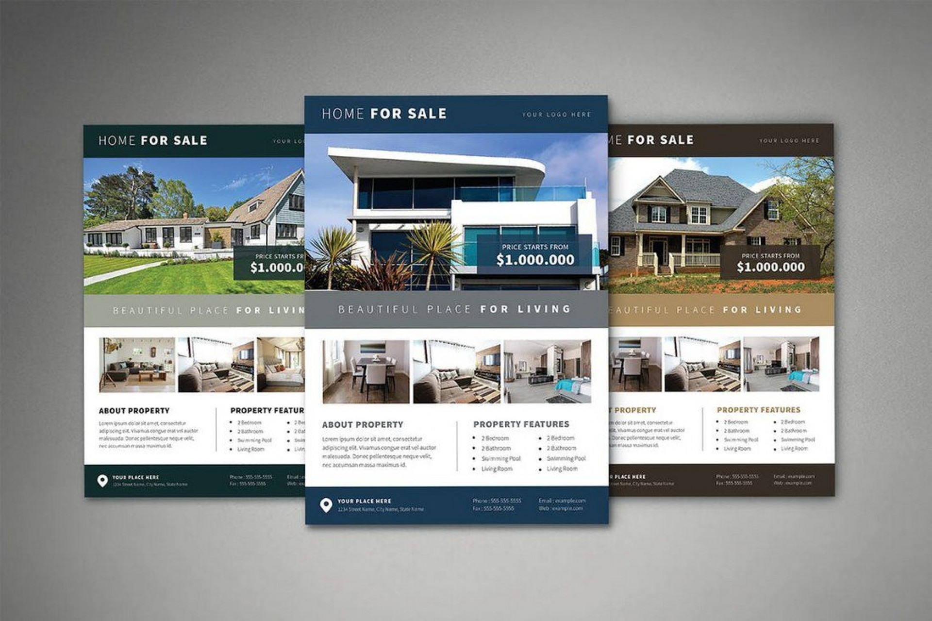 008 Beautiful Real Estate Flyer Template Free Highest Quality  Publisher Commercial Pdf Download1920