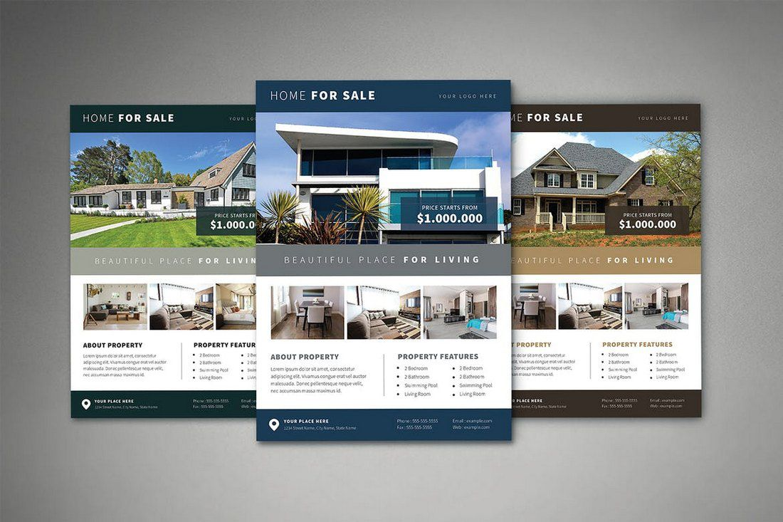 008 Beautiful Real Estate Flyer Template Free Highest Quality  Publisher Commercial Pdf DownloadFull