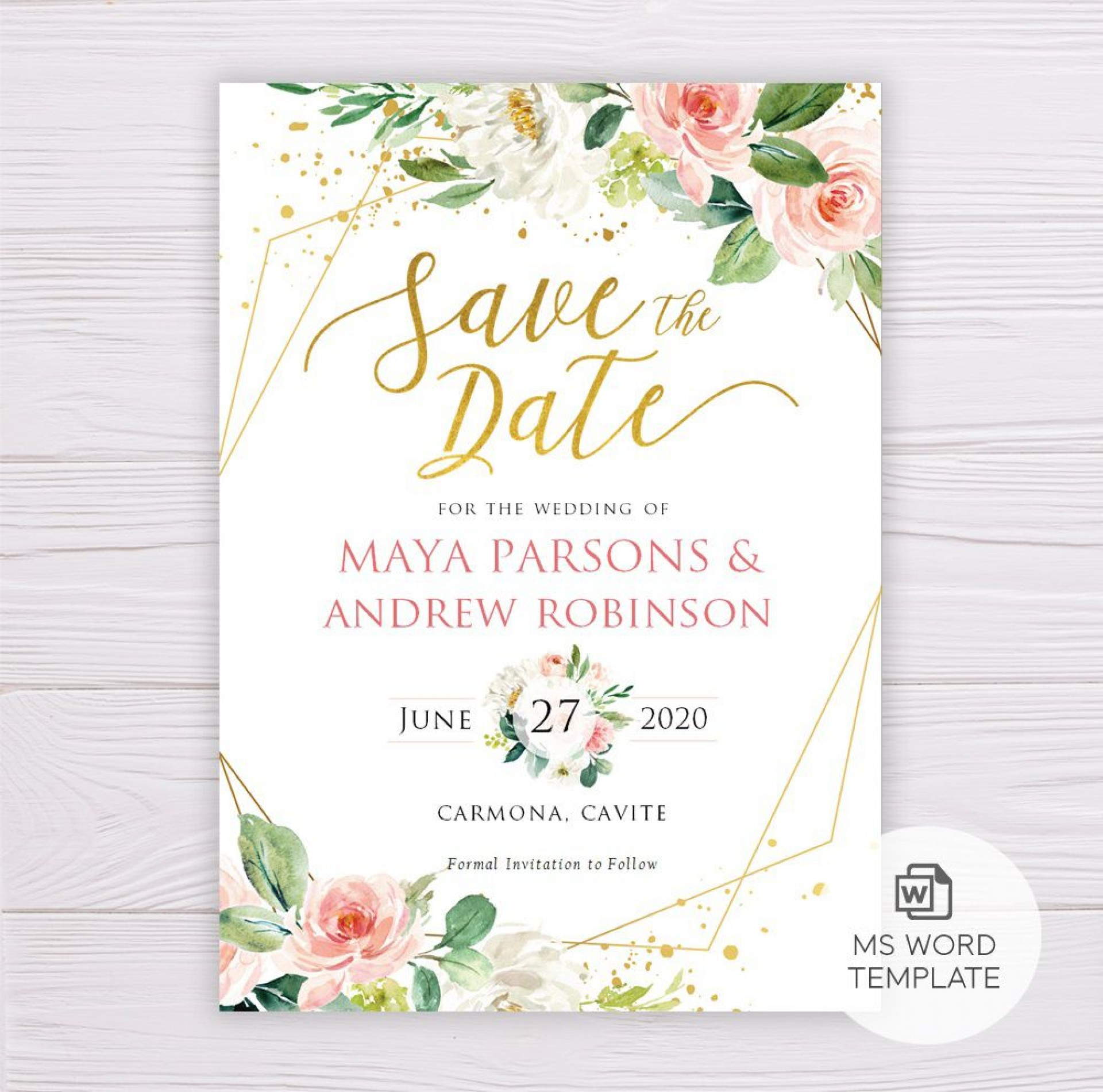 008 Beautiful Save The Date Word Template High Resolution  Free Birthday For Microsoft Postcard Flyer1920