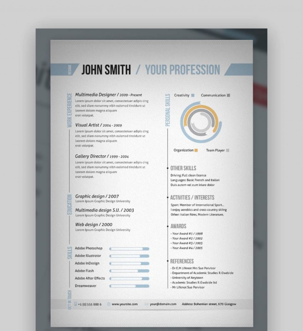 008 Beautiful Single Page Resume Template Idea  Cascade One Free Download Word For FresherLarge
