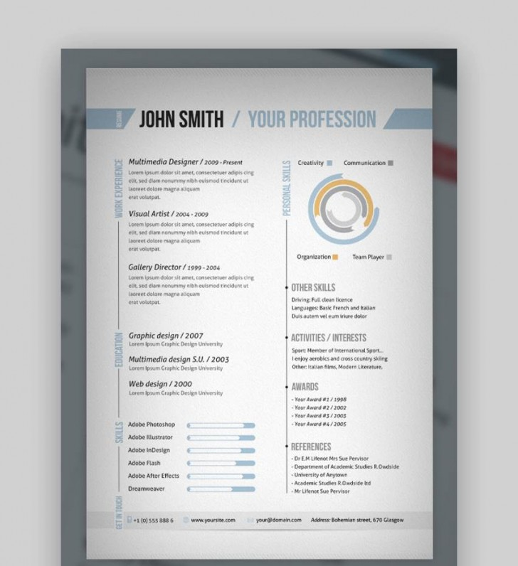 008 Beautiful Single Page Resume Template Idea  Cascade One Free Download Word For Fresher728
