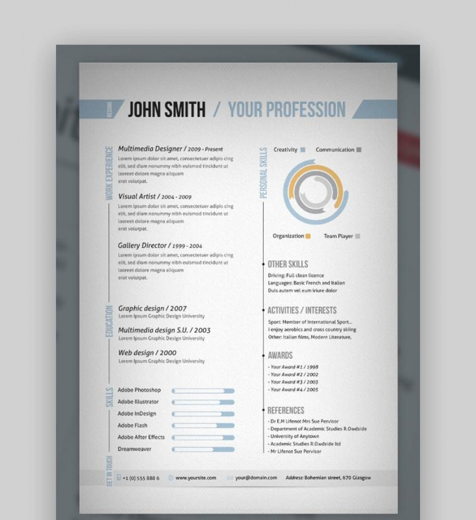 008 Beautiful Single Page Resume Template Idea  Cascade One Free Download Word For Fresher960