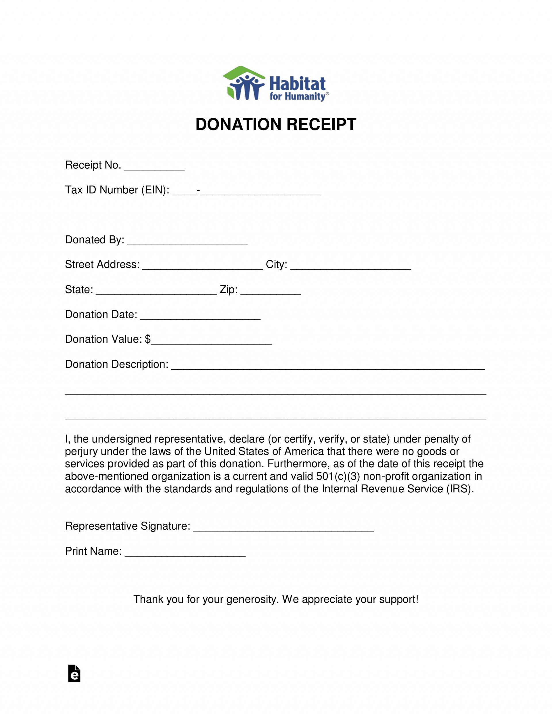 008 Best Charitable Donation Receipt Template Sample  Ir Contribution Form Charity1920