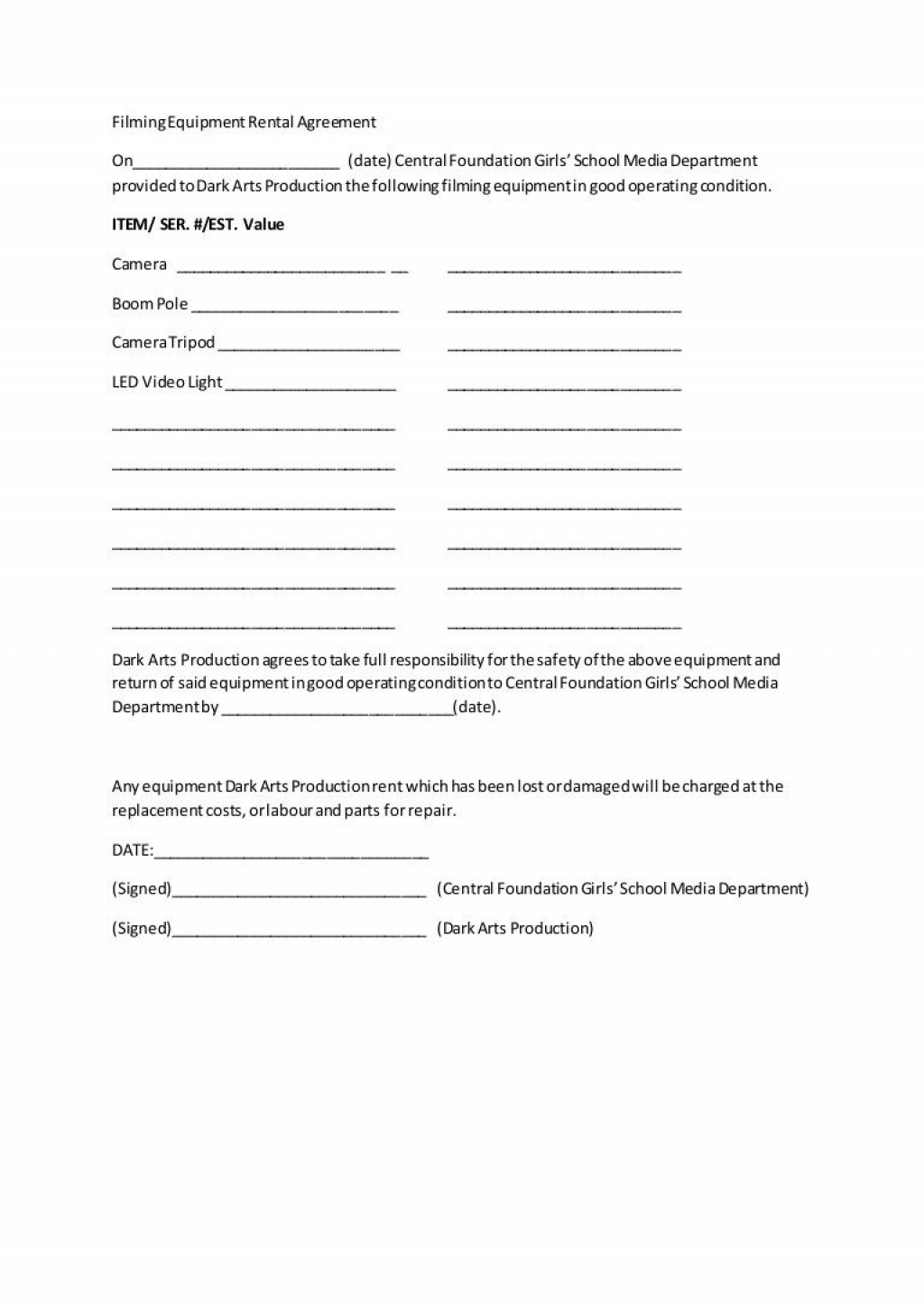 008 Best Equipment Rental Agreement Template Concept  Canada Free South Africa PdfLarge