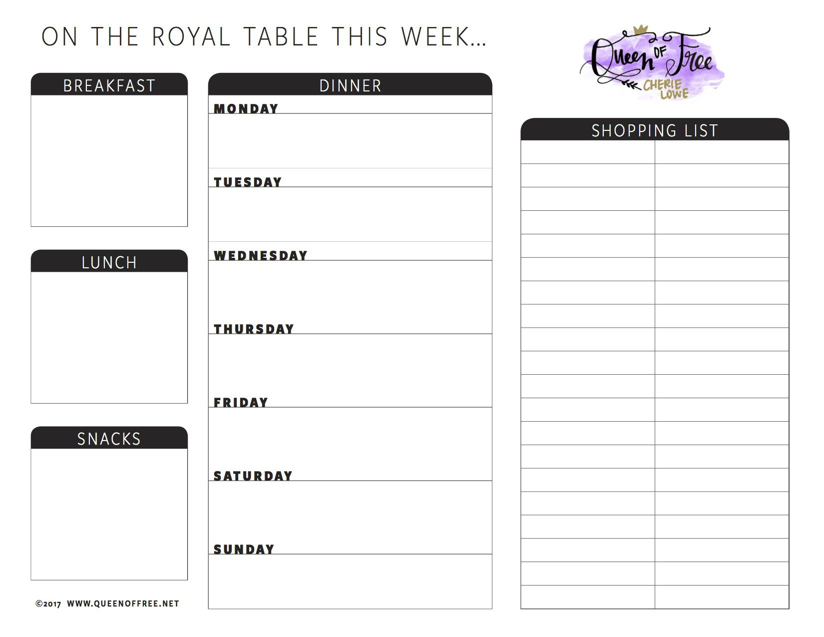 008 Best Free Food Planner Template Image  Printable Weekly Meal With Grocery List Diary Download Editable WordFull