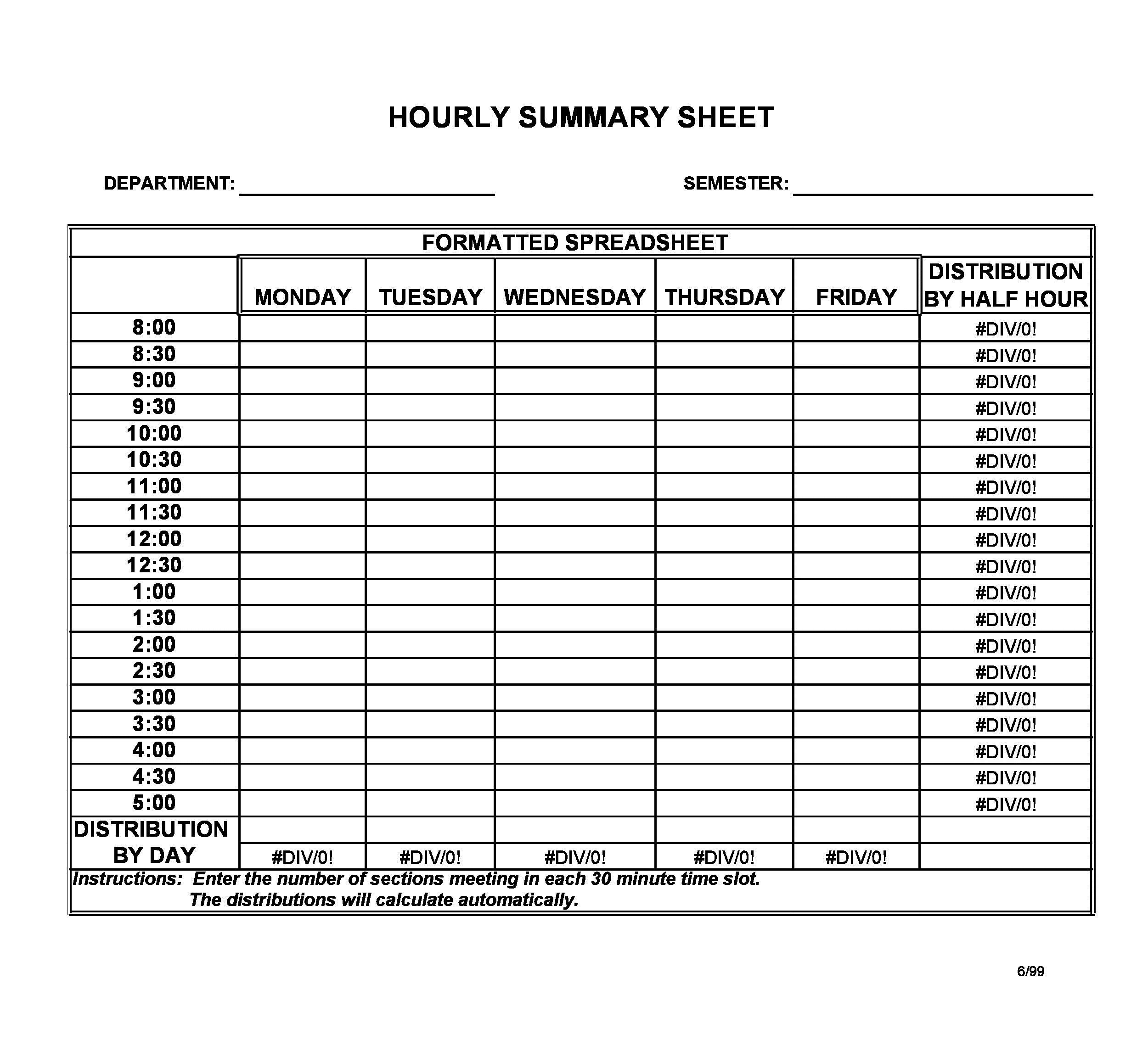 008 Best Free Hourly Schedule Template Word Design Full