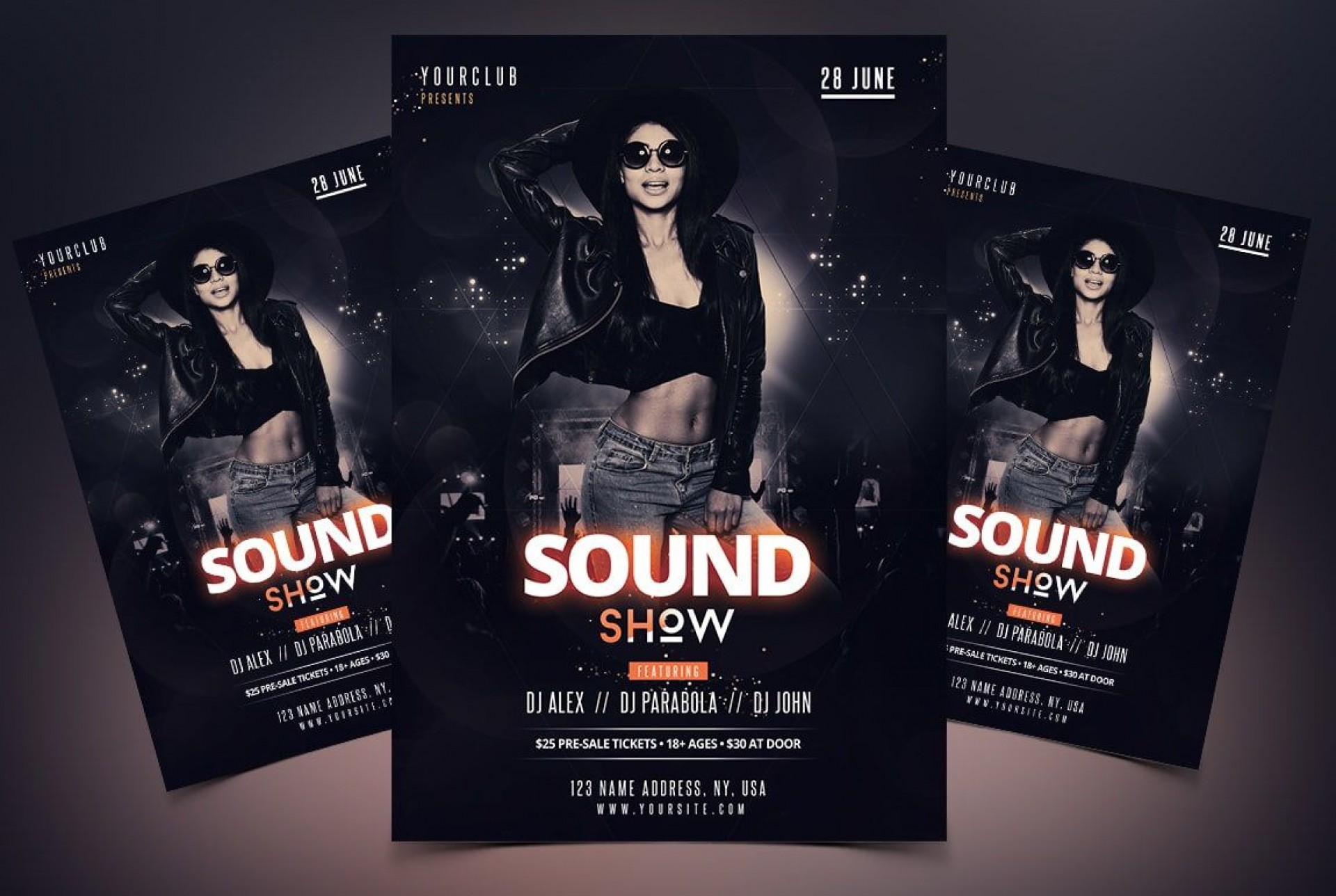 008 Best Free Psd Party Flyer Template Download Highest Clarity  - Neon Glow Rave1920