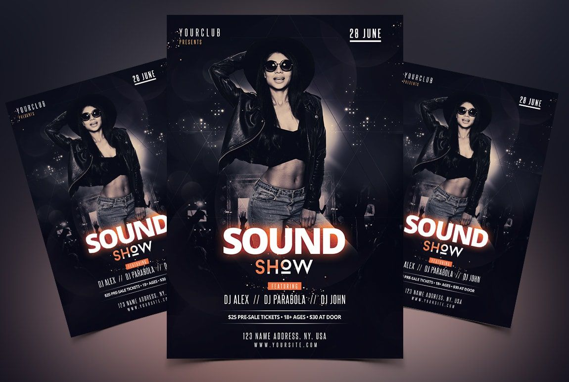 008 Best Free Psd Party Flyer Template Download Highest Clarity  - Neon Glow RaveFull
