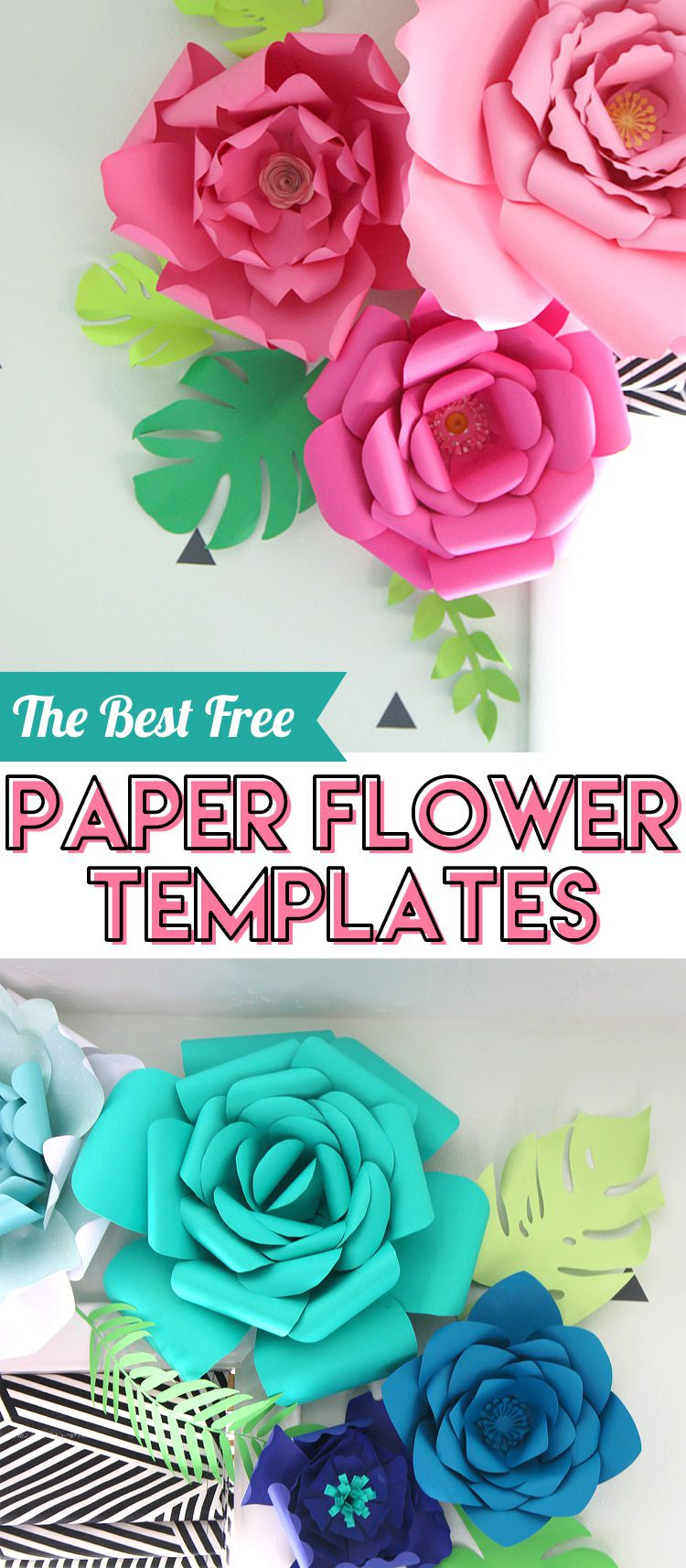008 Best Large Rose Paper Flower Template Free Picture Full