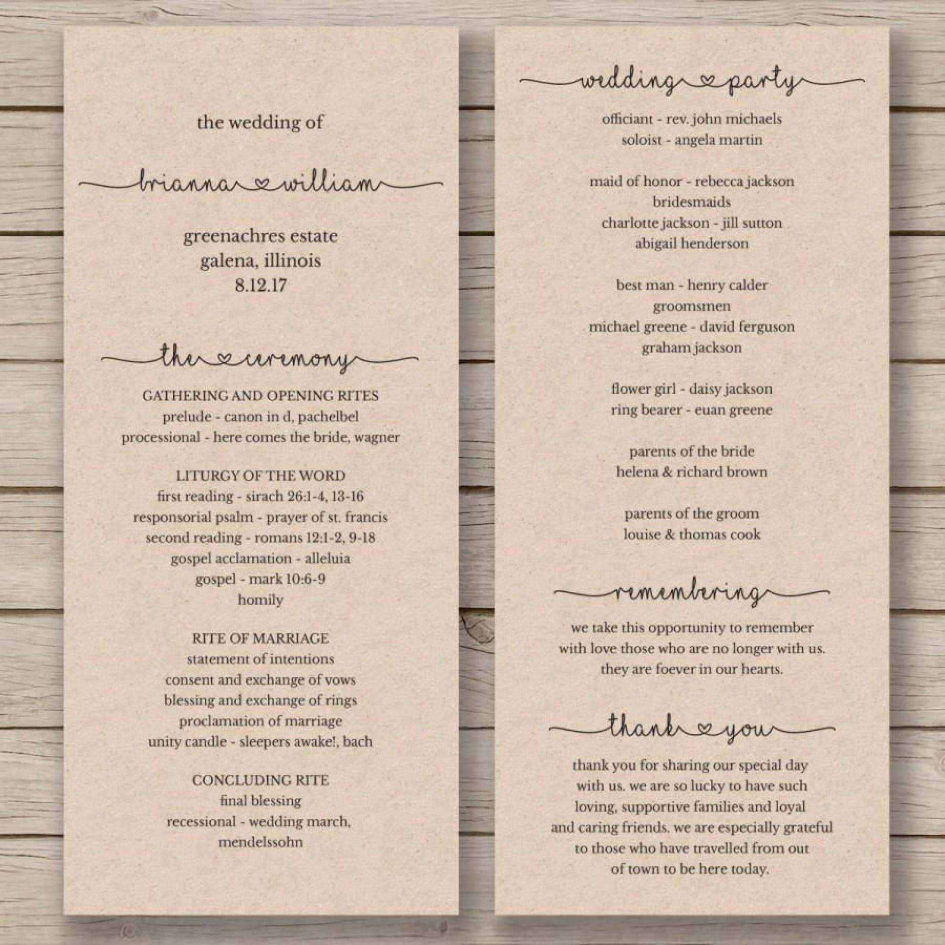 008 Best Wedding Program Template Word High Definition  Catholic Mas Sample Wording Idea Example Simple1920