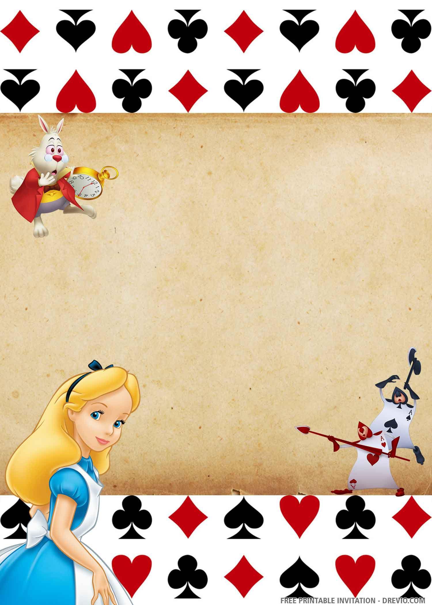 008 Breathtaking Alice In Wonderland Invite Template Photo  Party Invitation FreeFull