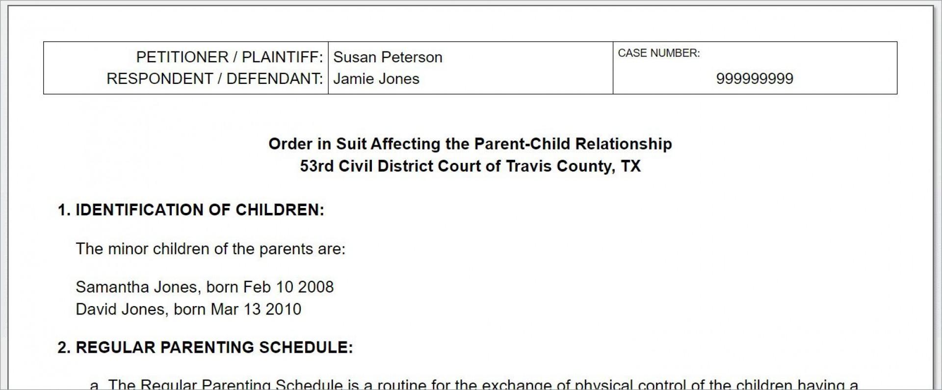 008 Breathtaking Child Custody Agreement Template Highest Quality  Texa Nc Visitation Uk1920