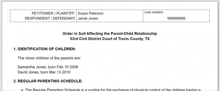 008 Breathtaking Child Custody Agreement Template Highest Quality  Texa Nj Uk728