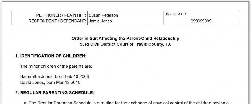 008 Breathtaking Child Custody Agreement Template Highest Quality  Texa Nj Uk868