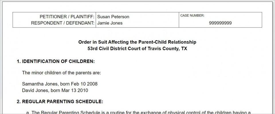 008 Breathtaking Child Custody Agreement Template Highest Quality  Texa Nj Uk960