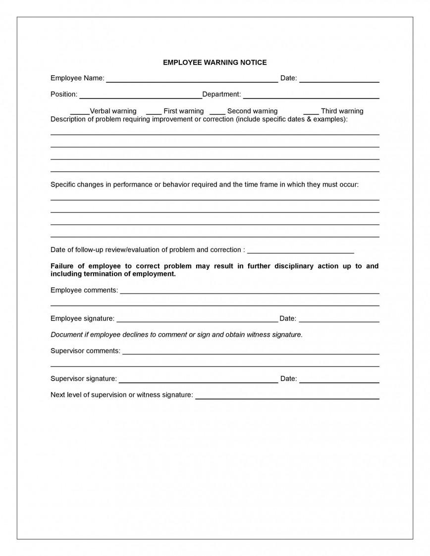 008 Breathtaking Employee Warning Notice Template Word Photo