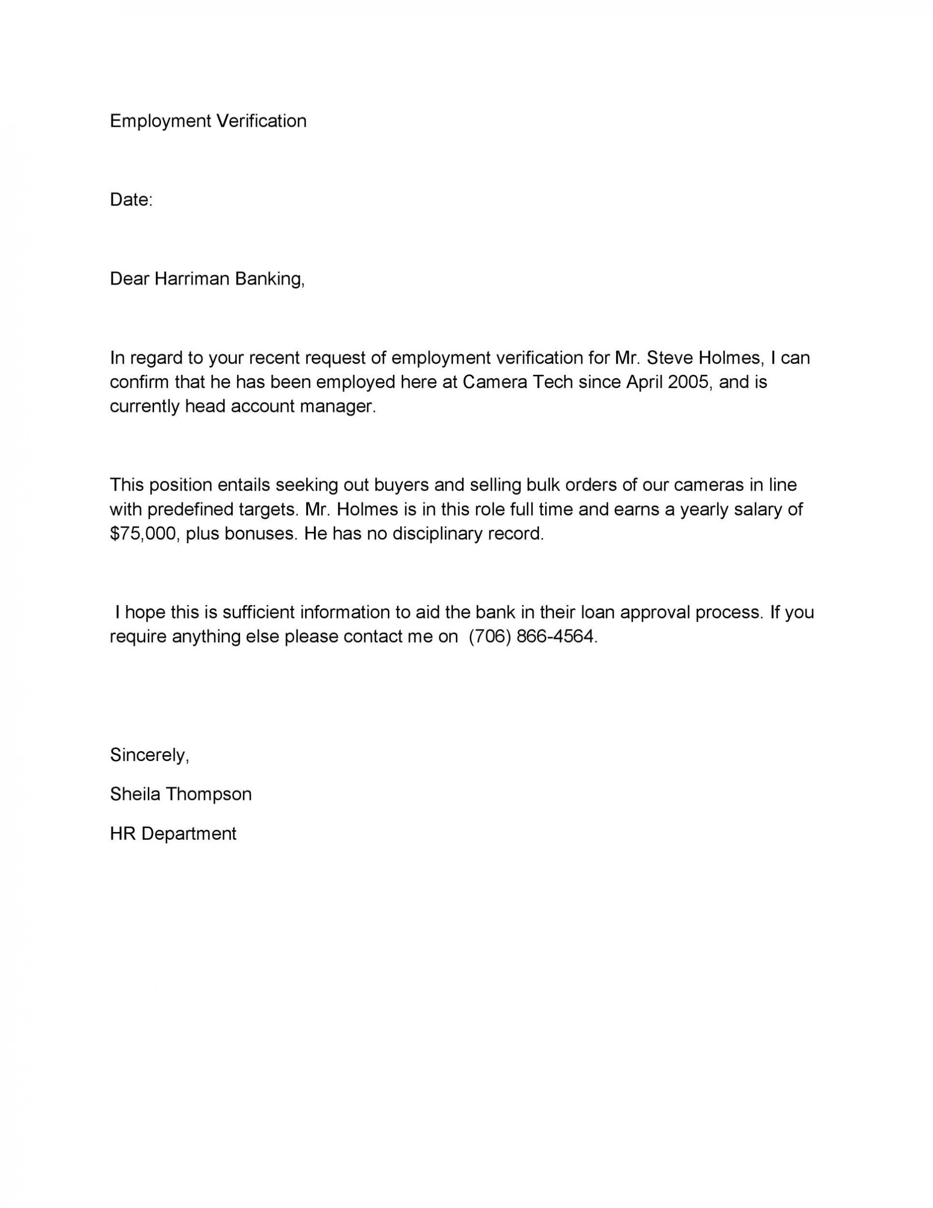 008 Breathtaking Employment Verification Letter Template Word High Definition  South Africa1920
