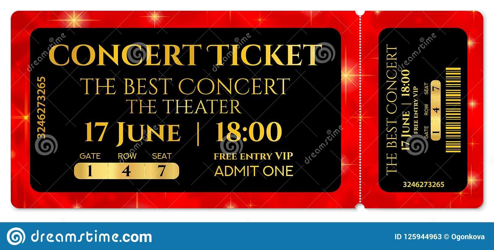 008 Breathtaking Free Editable Concert Ticket Template Design  Psd WordFull