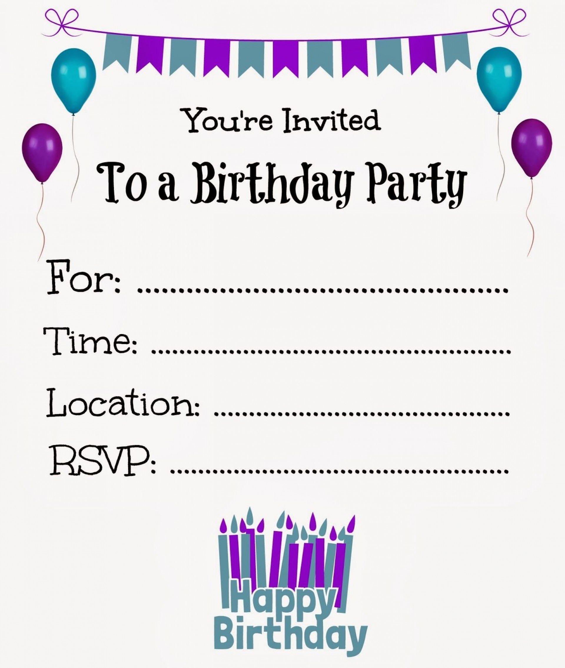 008 Breathtaking Free Online Birthday Invitation Maker Printable Inspiration  1st Card1920