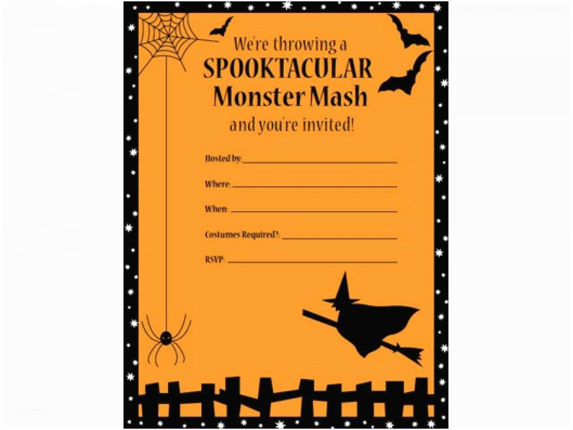 008 Breathtaking Halloween Party Invite Template Example  Templates - Free Printable Spooky Invitation Birthday1920