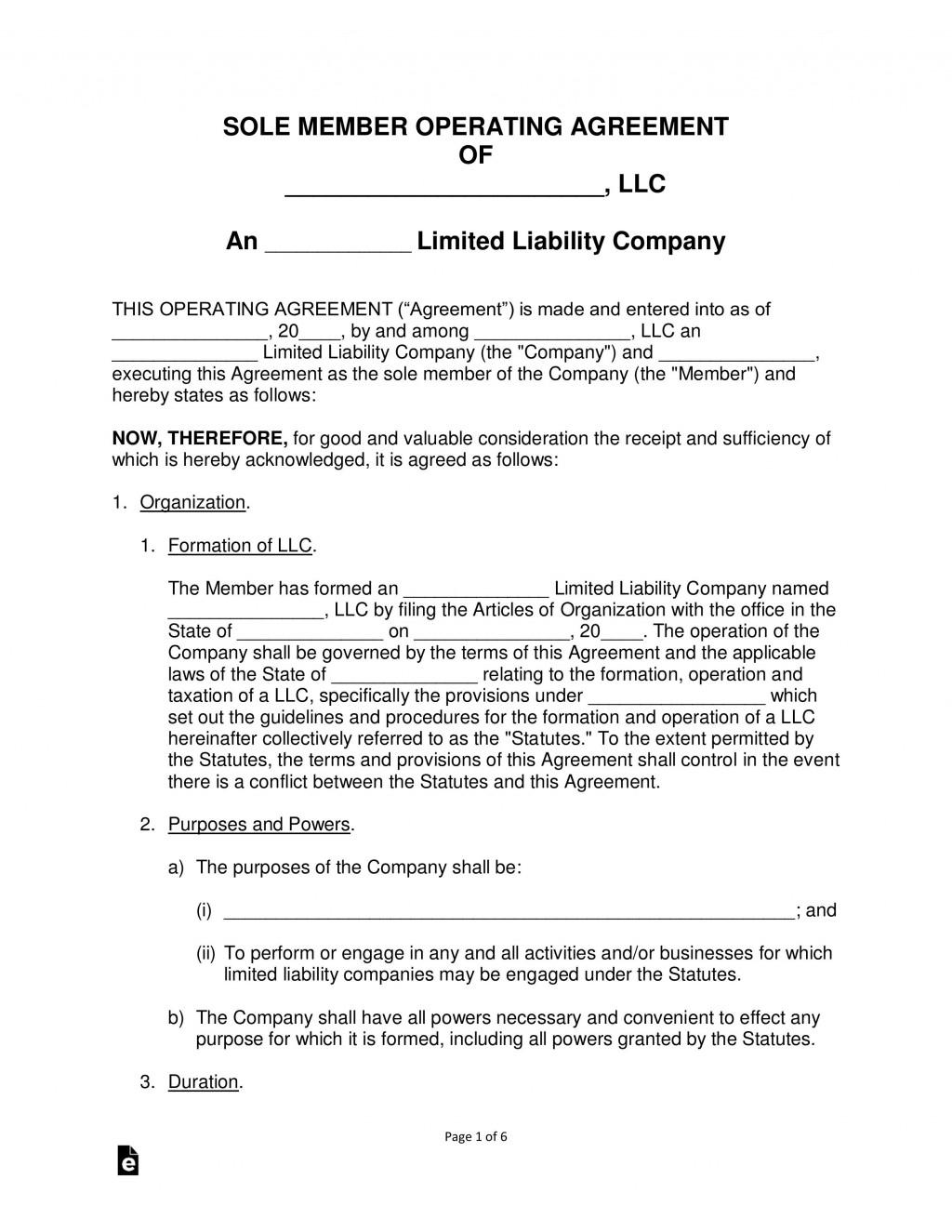 008 Breathtaking Llc Operating Agreement Template Free Image  Single Member Pdf Simple DownloadLarge