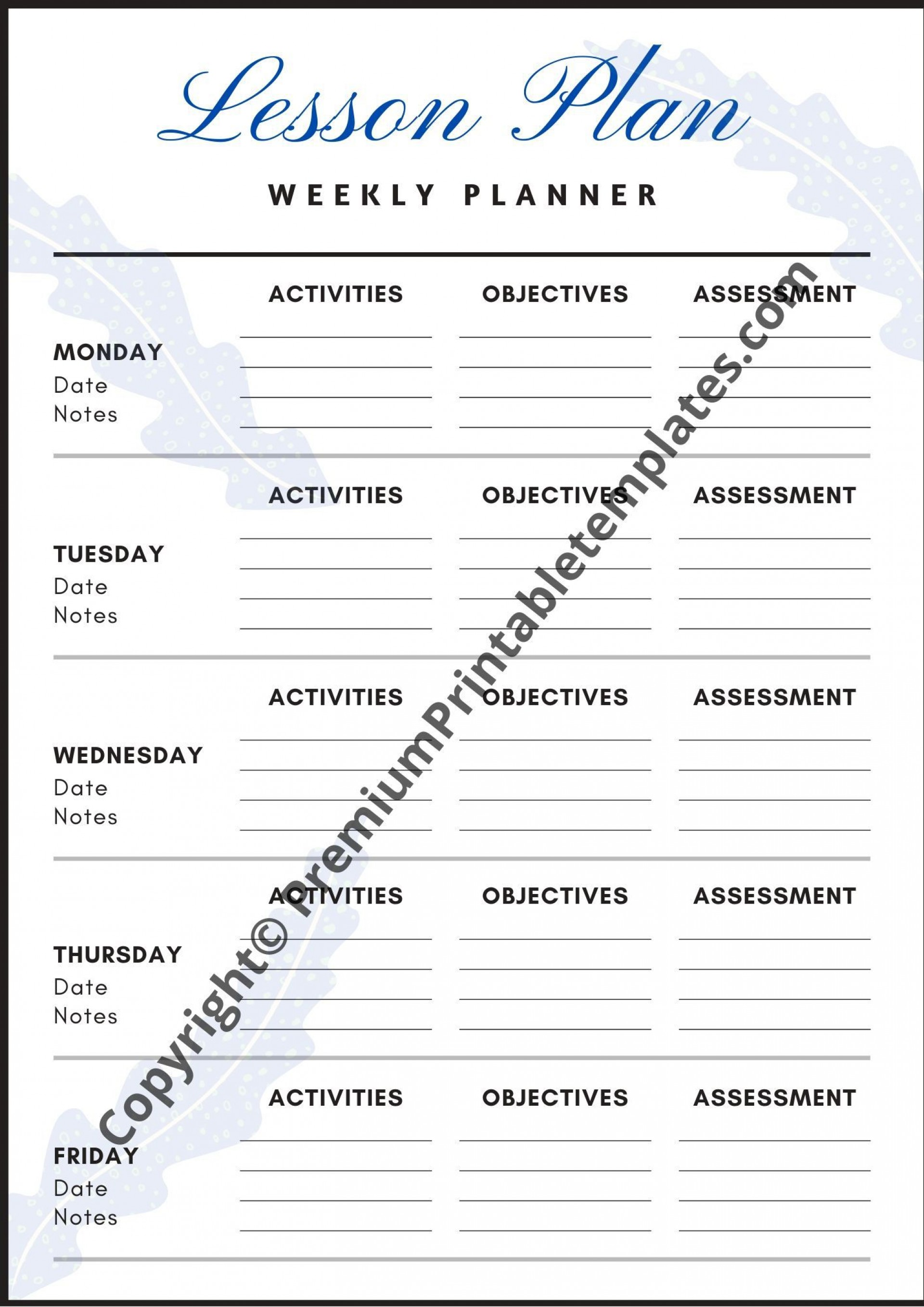 008 Breathtaking Printable Lesson Plan Template Weekly Idea  Blank Pdf Monthly Free Preschool1920