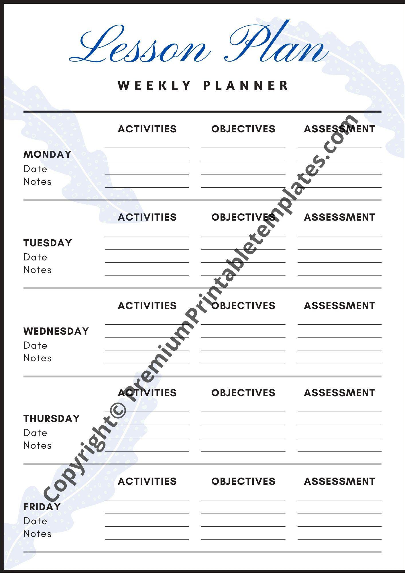 008 Breathtaking Printable Lesson Plan Template Weekly Idea  Blank Pdf Monthly Free PreschoolFull