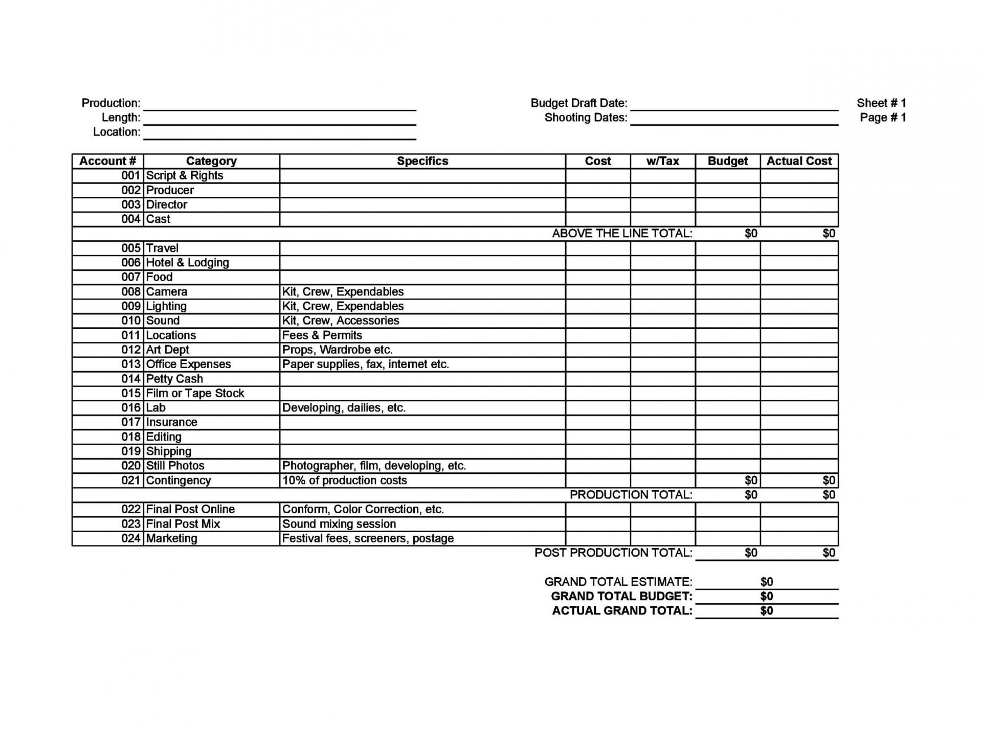 008 Breathtaking Sample Line Item Budget Format Inspiration 1920
