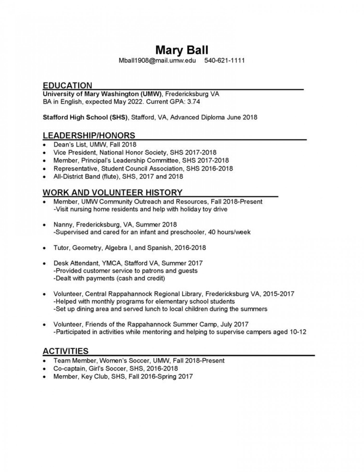 008 Dreaded College Freshman Resume Template Image 1400