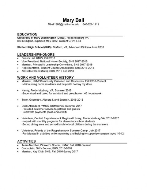 008 Dreaded College Freshman Resume Template Image 480